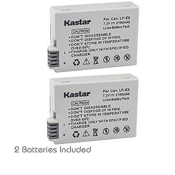 Amazon.com: Kastar LP-E8 batería (2-Pack) para Canon LPE8 ...
