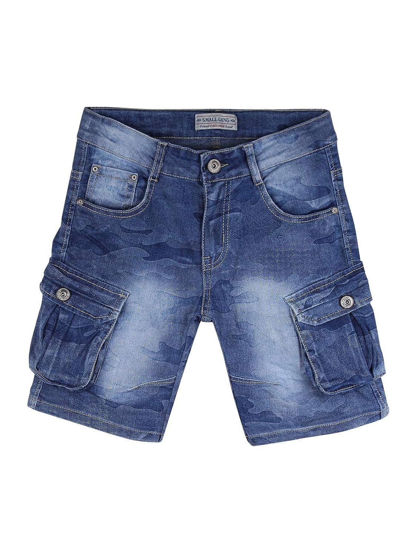 SMALL GANG Bermuda di jeans con tasconi bambino pantaloni corti cargo con tasche laterali bimbo