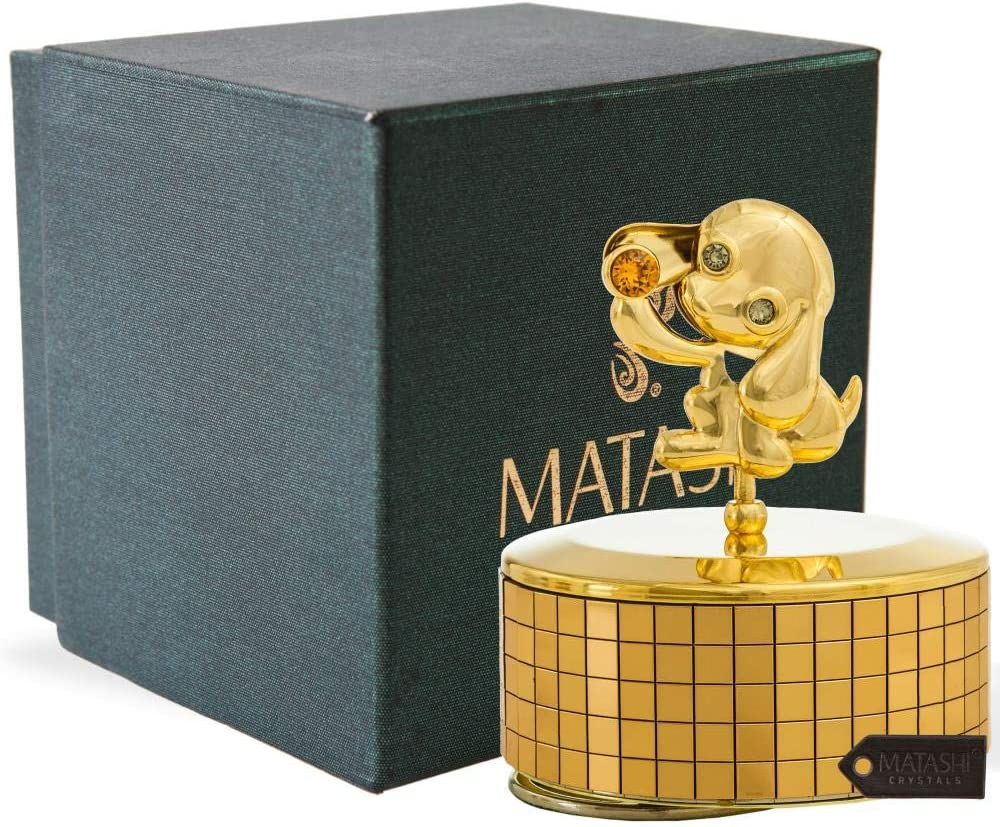 """Matashi 24K Gold Plated Puppy Dog Music Box Plays - """"Love Story"""" Gold Tabletop Ornament with Crystals Showpiece for Home Bedroom Living Room Decor Gift for Musician Christmas New Year"""