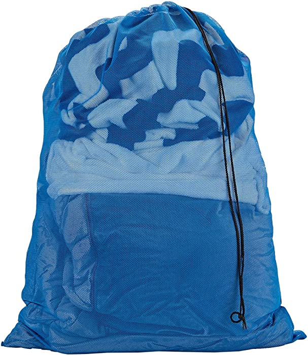 """HOMEST XL Mesh Laundry Bag 28"""" x40"""" with Drawstring Cord, Works as Hanging Hamper or Laundry Basket Liner for Travel, College, Dorm (Blue)"""