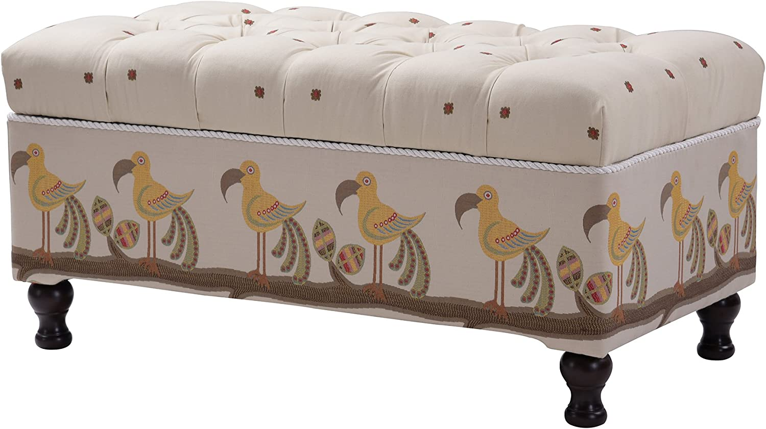 Jennifer Taylor Home Naomi Collection Hand-Tufted Upholstered Storage Entryway Bench with Two-Toned Floral Pattern Beige