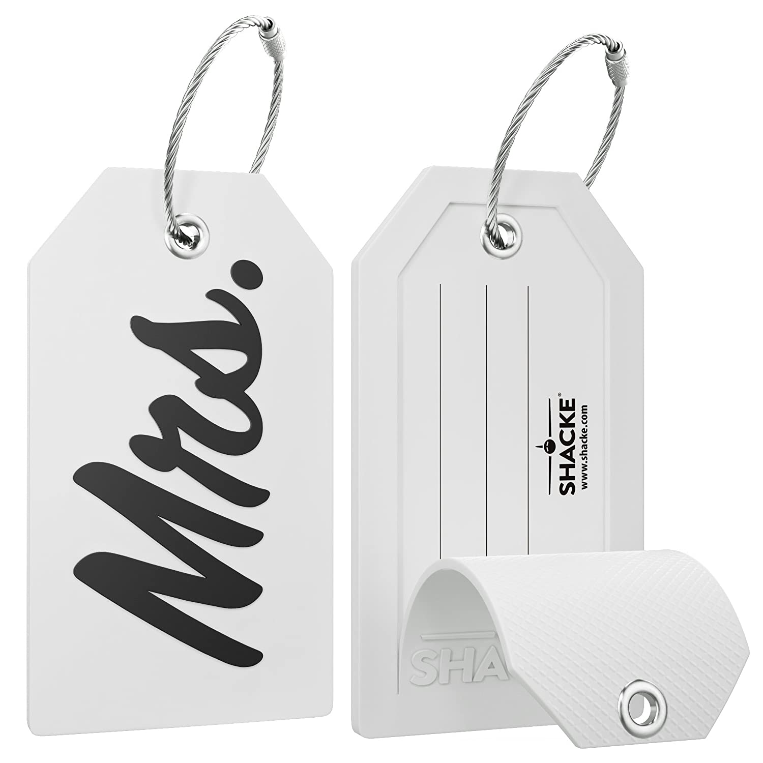 Mr Mrs Luggage Tags for Weddings with Full Back Privacy Cover w//Steel Loops