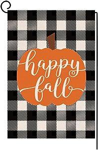 Happy Fall Pumpkin Thanksgiving Garden Flag Vertical Double Sided Farmhouse Autumn Buffalo Check Burlap Yard Outdoor Decor 12.5 x 18 Inches (134193)