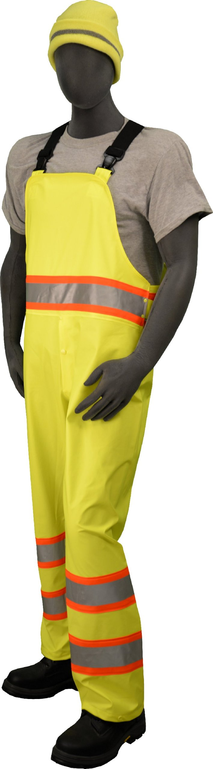 Majestic Glove 75-7353 Polyester High Visibility DOT Rain Bib with Elastic Suspenders, 2X-Large, Yellow