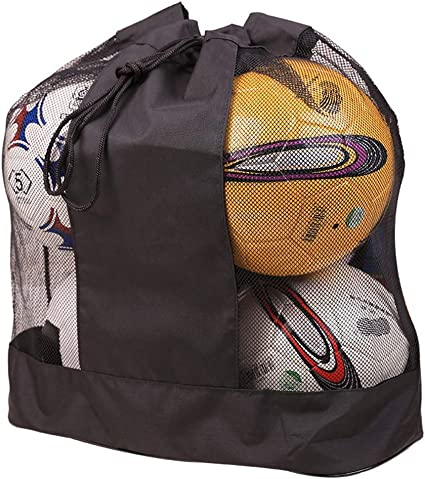 Canvas Drawstring Football 15 Balls Backpack Storage Mesh Bag Carrying Pouch