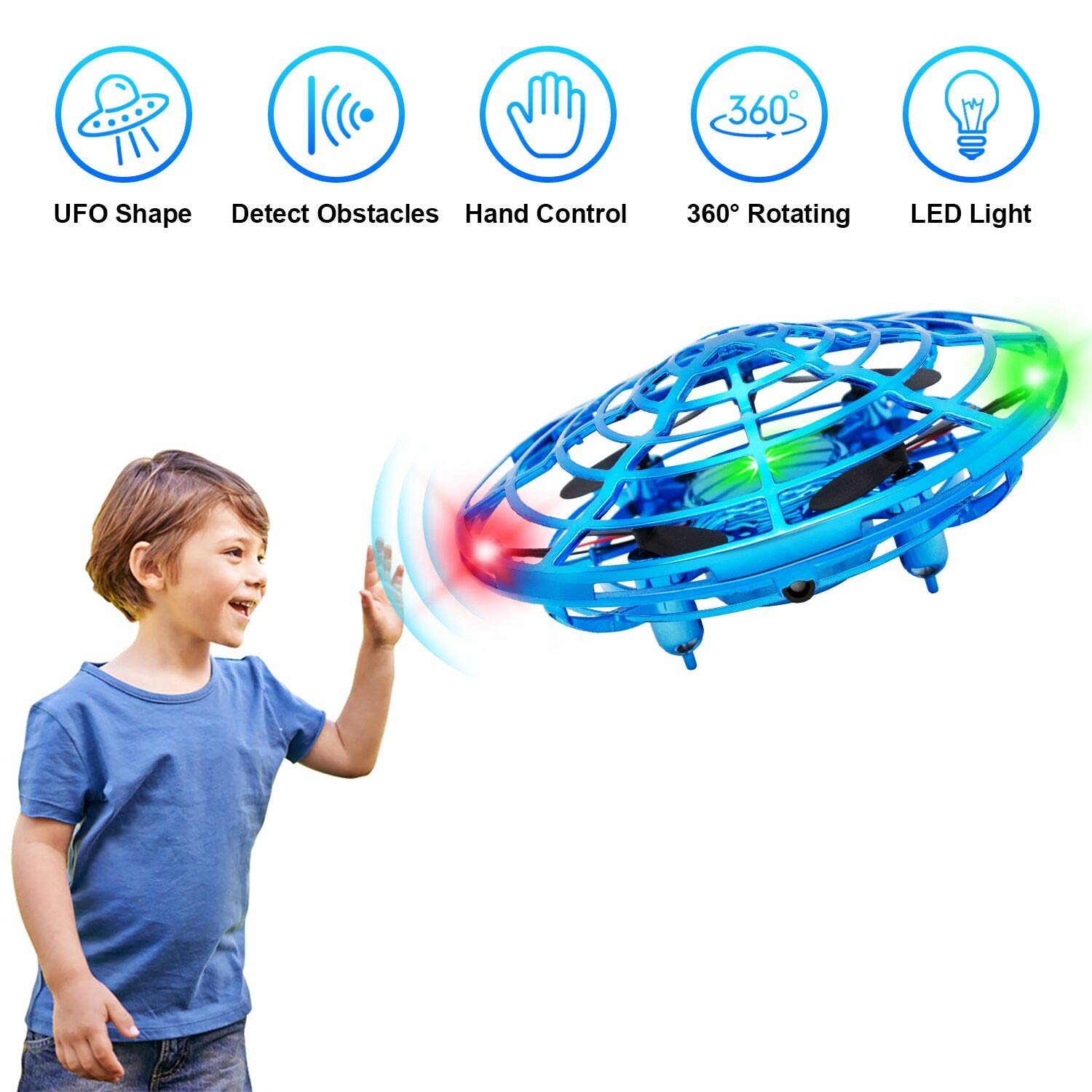 WEIRD TAILS Flying Toys Drones for Kids, 2019 Improved Flying Ball Drone Toy with Infrared Sensor Auto-Avoid Obstacles 360°Rotating LED Light, Mini Quadcopter Hand Operated Drones for Boys or Girls