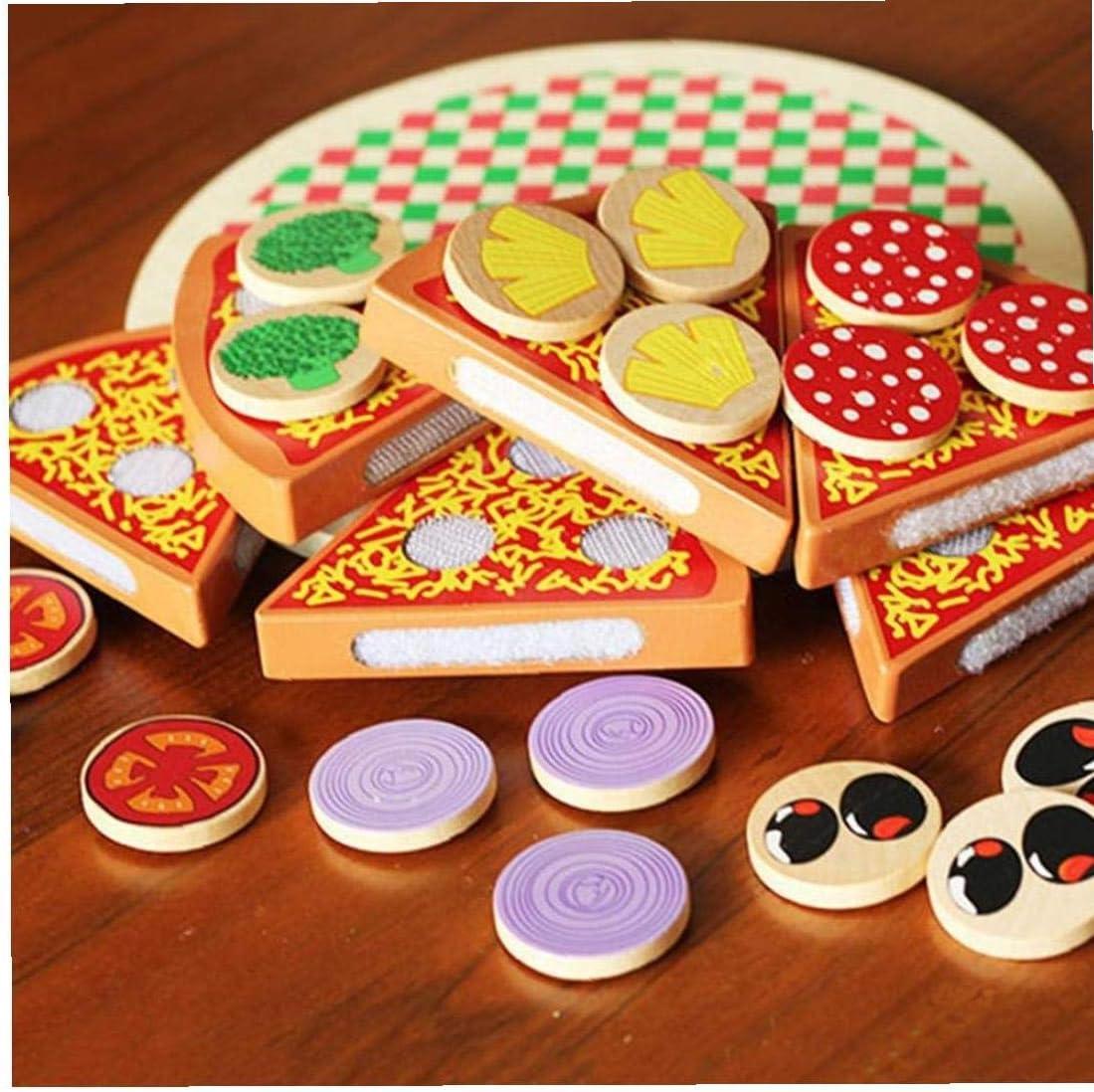 Kreativit/ät Zusa Holz Pizza Frucht-Scheiben Schneiden Geschirr K/üche Pretend Play Kinder Spielzeug Byfri 27pcs Verbessert Imagination