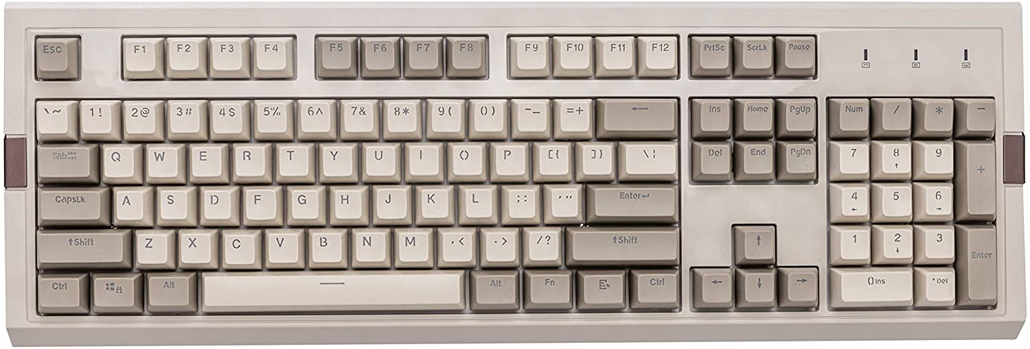 Ajazz AK510 Retro Mechanical Gaming Keyboard - PBT SP Spherical Keycaps - Classic Grey-White Matching - RGB Backlight - Black Switches
