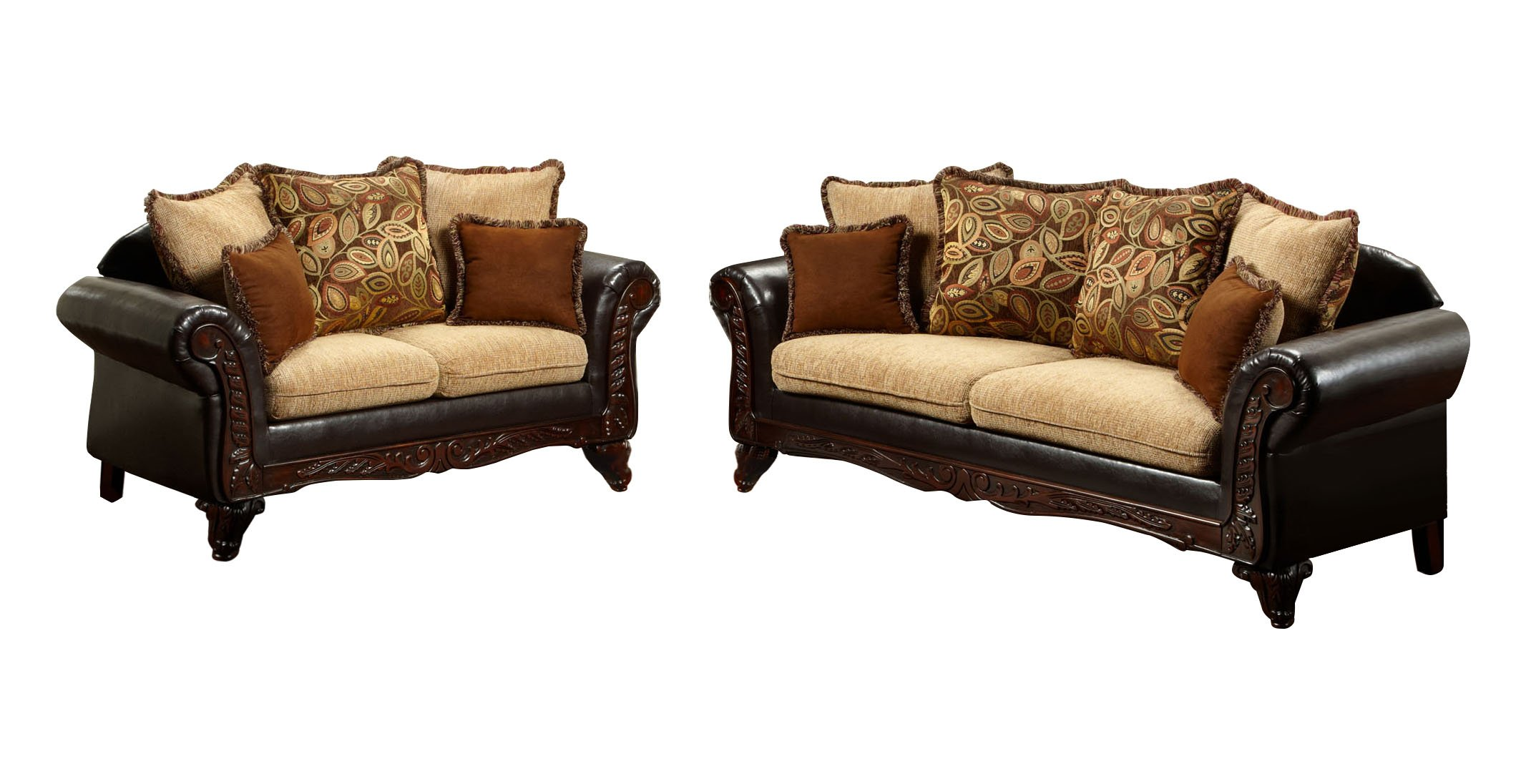 Furniture of America Kamil Classic 2-Piece Sofa Set with Accent Pillows and Wood Trim, Light Mocha and Espresso