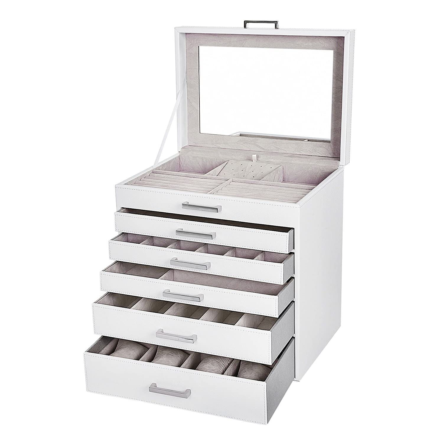 SONGMICS Jewellery Box Organiser,large Jewellery case with 6 Layers with 5 Drawers White JBC138