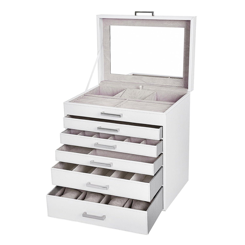 SONGMICS Caja Joyero Grande de 6 Niveles Espejo para Pendientes Collares Pulseras Relojes Gafas Blanco JBC138