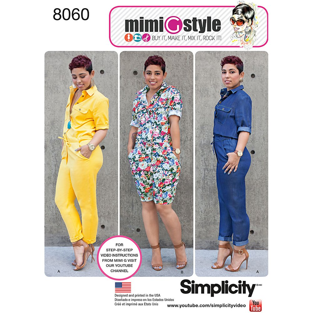 Simplicity Patterns Misses' Jumpsuits from Mimi G Style Size: H5 (6-8-10-12-14), 8060 (US8060H5) OUTLOOK GROUP CORP