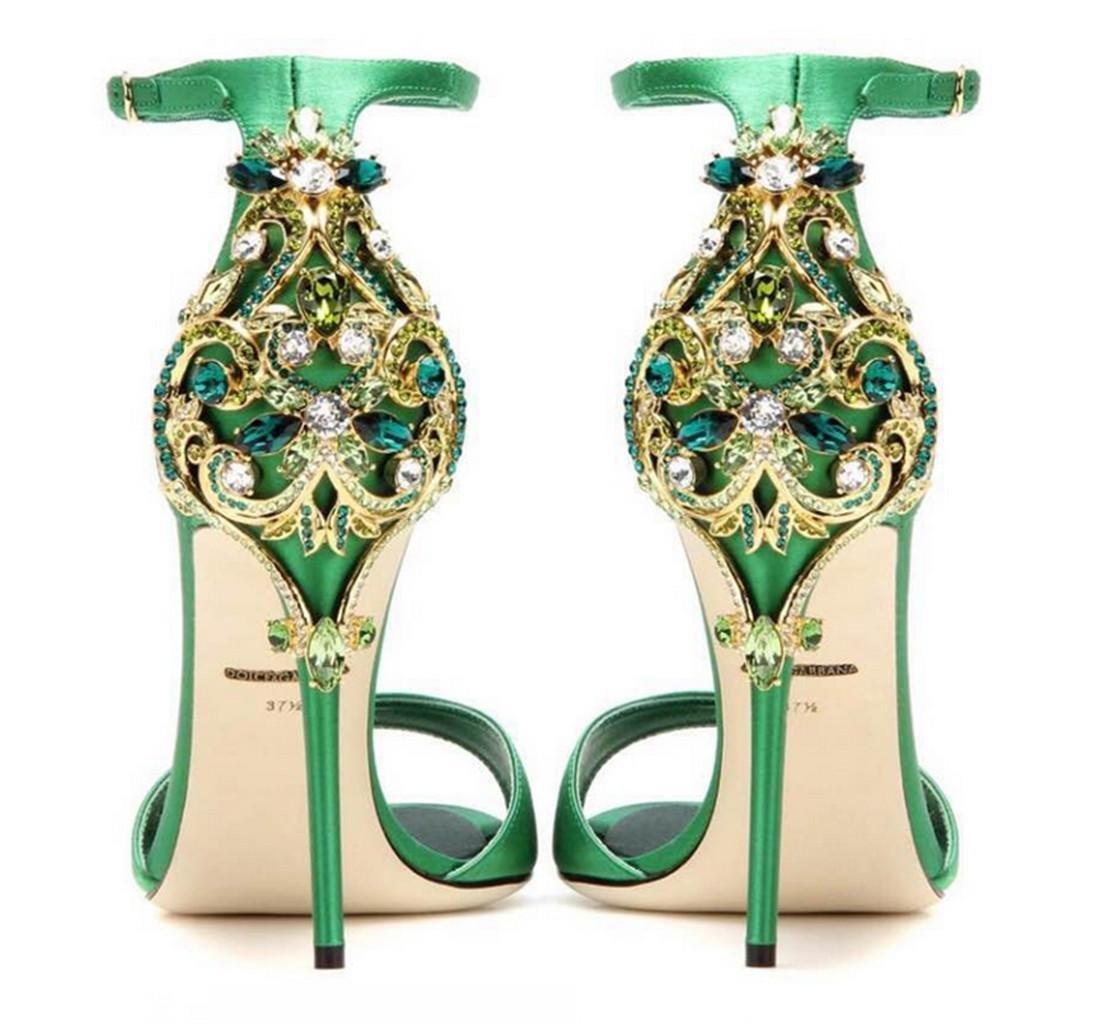 Vert Femmes Sandales Pierres de Strass Mariage Bridal Evening Party Crystal Glitter Magnifiques Chaussures à Talons Hauts,Personnalité EU39