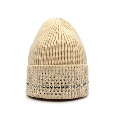 c79184cb5f2 Image Unavailable. Image not available for. Color  Feisette New Wool Cotton  Hat Women Fashion Rhinestone Beanies Hat Solid Knitted Gorro Skullies Caps  Girls