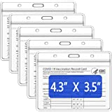 """Teskyer 5 Pack CDC Vaccination Card Protector, 4.3 X 3.5"""" Large Version Immunization Record Vaccine Card Holder, Plastic Clea"""