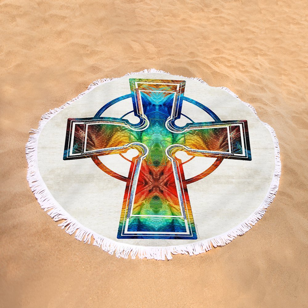 Pixels Round Beach Towel With Tassels featuring ''Colorful Celtic Cross By Sharon Cummings'' by Sharon Cummings by Pixels