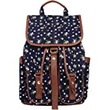 Imiflow Casual Backpacks Canvas Leather Travel Rucksack Backpack Purse for Girls
