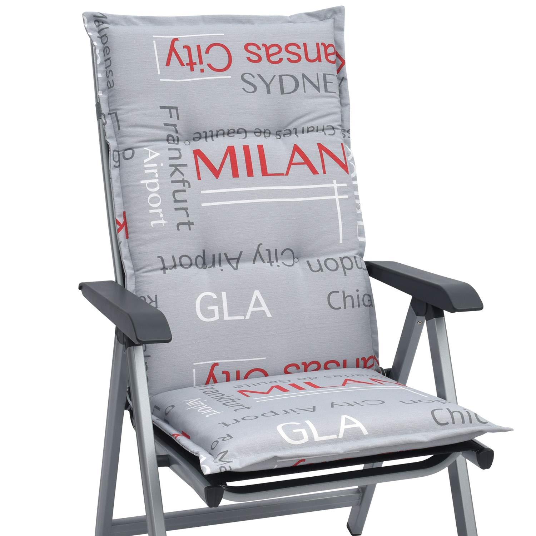 Beautissu High Back Chair Cushion Loft HL 120 x 50 x 6 cm Recliner Garden Chair Pad with Soft Foam Core Design City