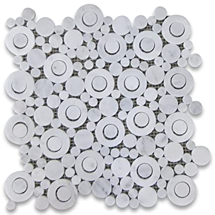 Best Carrara White Italian Carrera Marble Circle Bubble Mosaic Tile  SI39