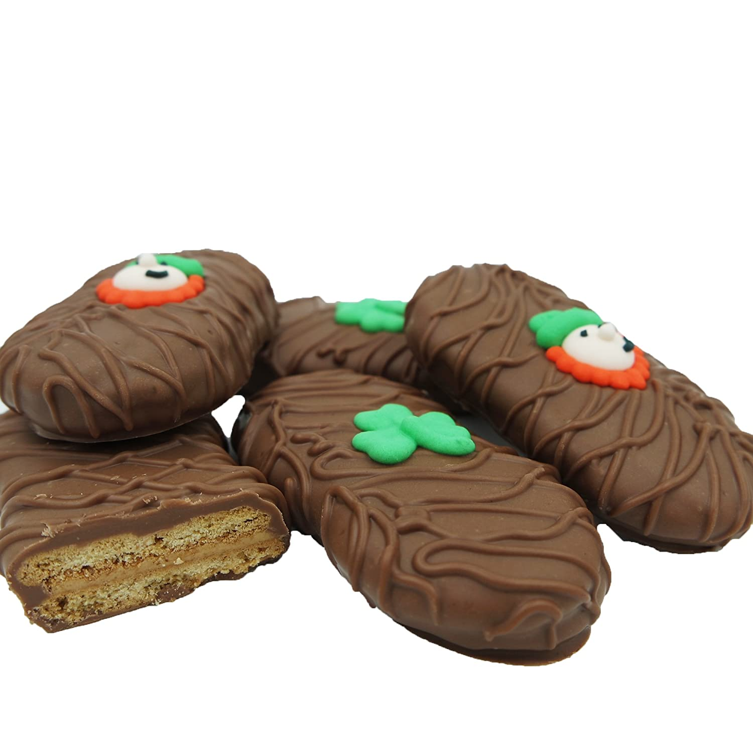 Philadelphia Candies Milk Chocolate Covered Nutter Butter Cookies, St. Patrick's Day Leprechaun Shamrock Gift Net Wt 8 oz