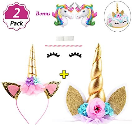DaisyFormals Unicorn Cake Topper Set with Shiny Gold Unicorn Headband 72a4fb1cd82