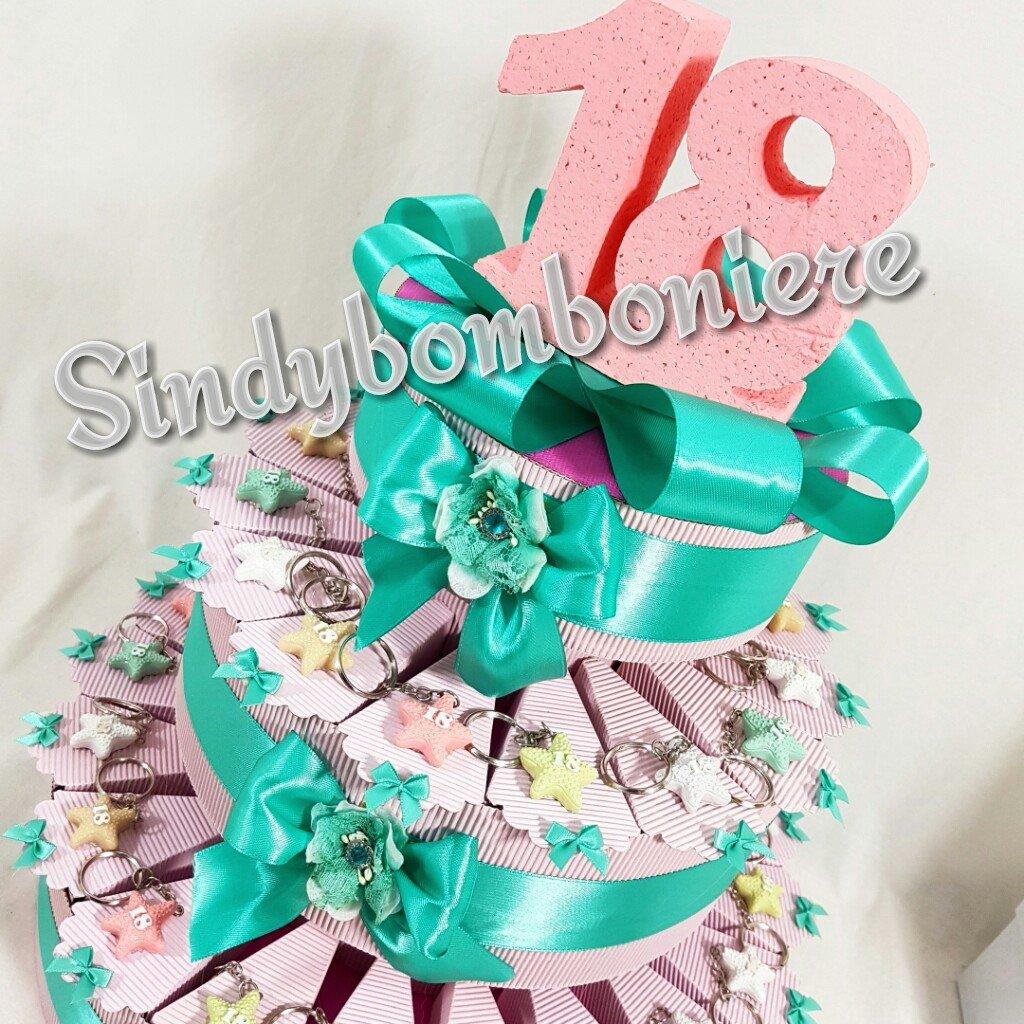 Popolare torta bomboniera 18 anni (diciottesimo compleanno) per ragazza  HV92