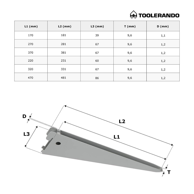 Bianco Toolerando Reggimensola per Cremagliera doppia Lunghezza: 370 mm Supporto a U