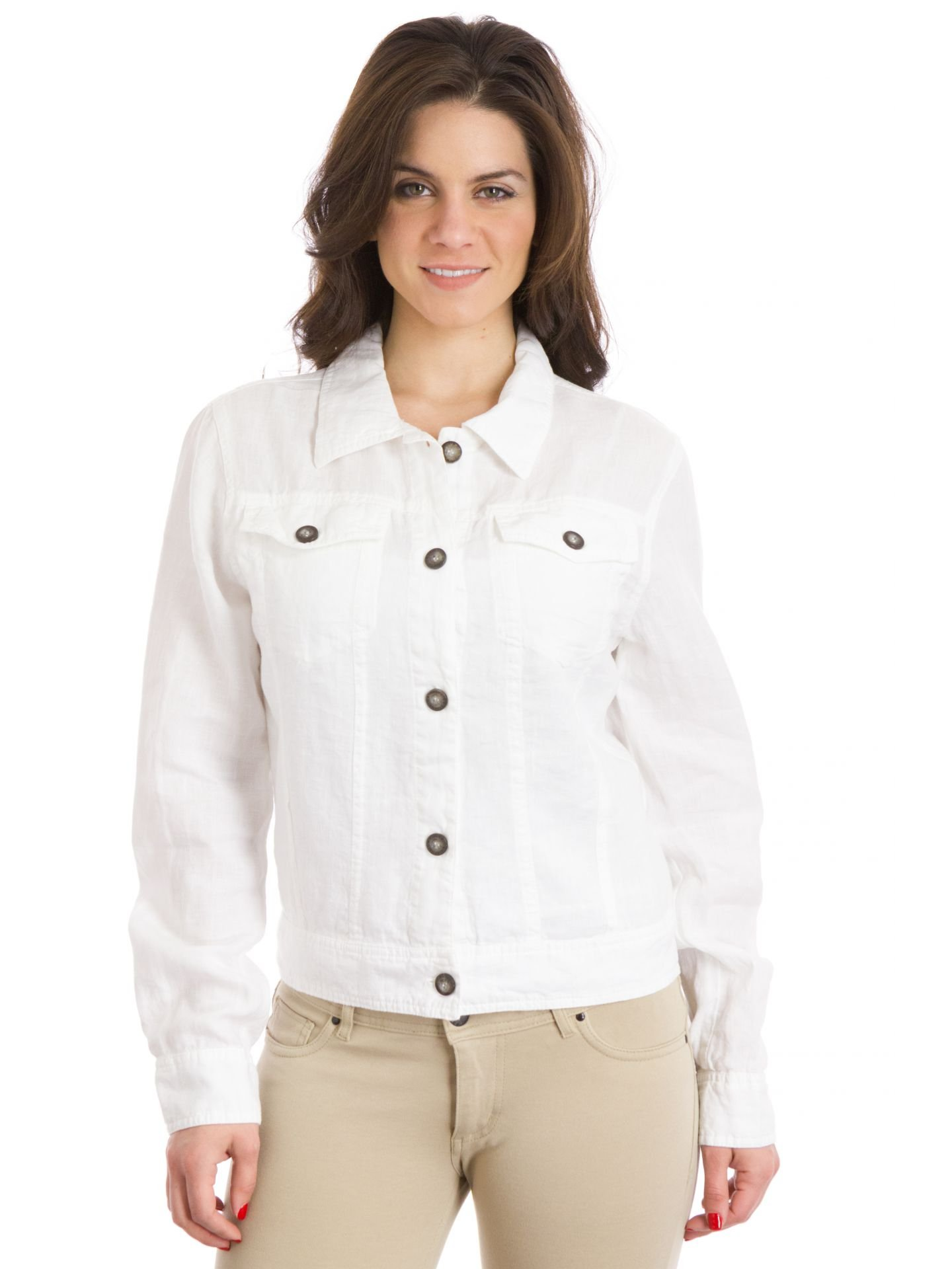 Hard Tail Linen Jean Jacket, White, XSmall