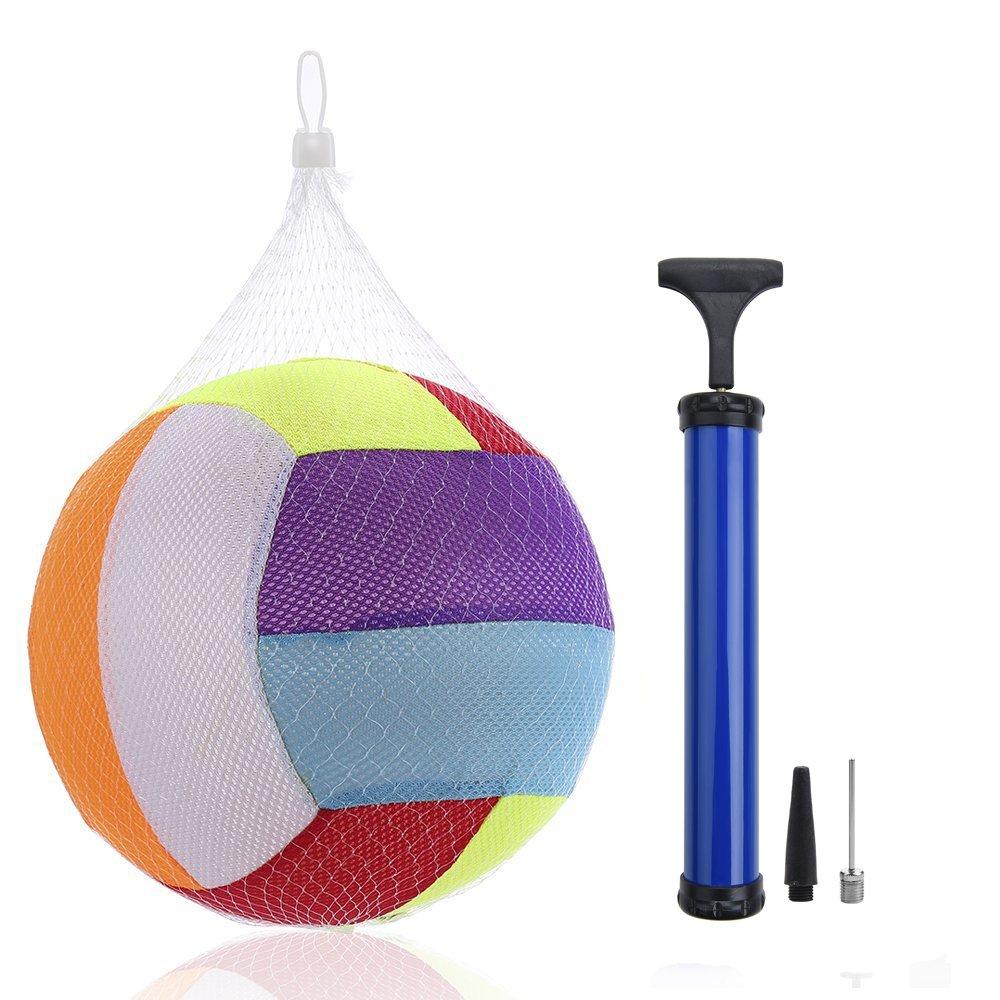 Stylife Rainbow Inflatable Cloth Ball, Cloth Beach Ball Toy- Colors Varied (Rainbow10 + pump, 10inch)