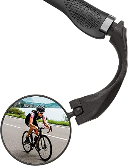 Bar End Bike Mirror MTB Bicycle Safe Rearview Mirror,Adjustable Rotatable Handlebar Mounted Plastic Convex Mirror for Mountain Road Bike Cycling