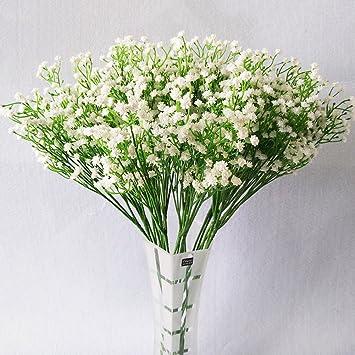 Amazon De 10 Kunstliche Blumen Modische Weisse Gladiolen Schon Fur