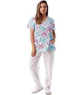 2831db438b9 Amazon.com: MedPro Women's Printed Medical Scrub Set Mock Wrap Top ...
