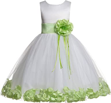 Kelaixiang Green Tulle Flower Girl Dress Sleeveless Ball Gown Floor Length