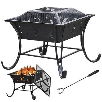 Fire Pit al aire libre Metal patio jardín estufa calentador de Patio cuadrado parrilla para chimenea para estufa brasero para barbacoa: Amazon.es: Jardín