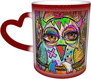 Ceramic Color Changing Coffee Mug 12oz Colorful Owl Doodle Abstract Multicolour Animal Big Tea Cup For Office Home Add Coffee Or Tea And Personalized Custom Pattern Appears, With Love Heart Handle