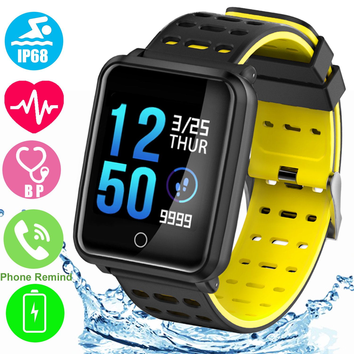 1.3'' TF2 HD Screen Sport Fitness Tracker with Blood Pressure Heart Rate Monitor IP68 Waterproof Pedometer Stopwatch Smartwatch for Kid Men Women Wristband Swim Run Travel Activity Tracker iOS Android by Symfury (Image #1)