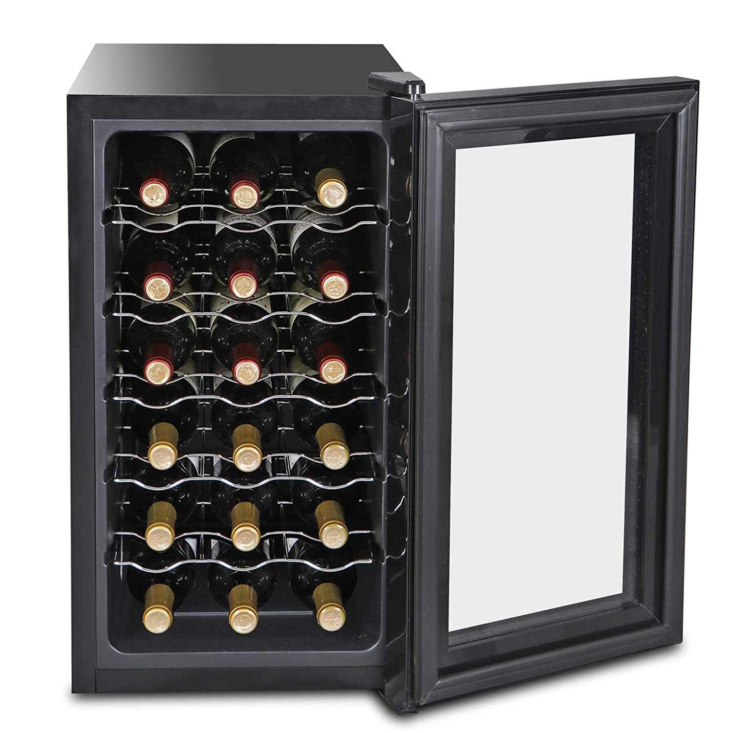 SUPER DEAL 18-Bottle Touchscreen Wine Cooler Thermoelectric Freestanding Red White Wine Champagne Chiller Wine Refrigerator (18-Bottle)