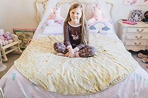 Burrito Wrap Novelty Blanket - Perfectly Round Tortilla Throw (5' Diameter)