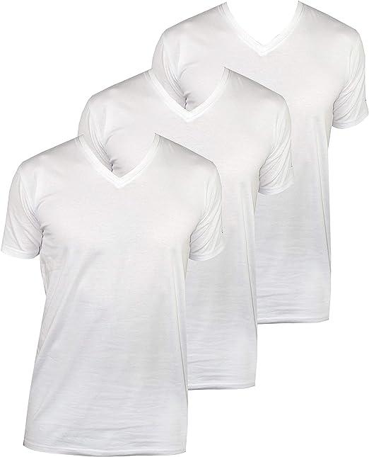 1stAmerican Abanderado Camisetas Interior de Manga Corta Cuello en V para Hombre - T-Shirt Stretch Basica de Algodon (Pack de 2): Amazon.es: Ropa y accesorios