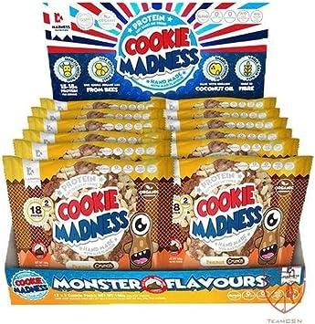 Cookie Madness Galletas de proteínas – 2 por paquete y 12 paquetes por caja (avellana de choc)