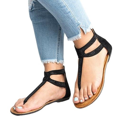 63b6f6d60 COOKI Women Sandals Diamond Zipper Gladiator Low Flat Flip Flops Beach  Sandals Bohemia Sandals Casual Shoes