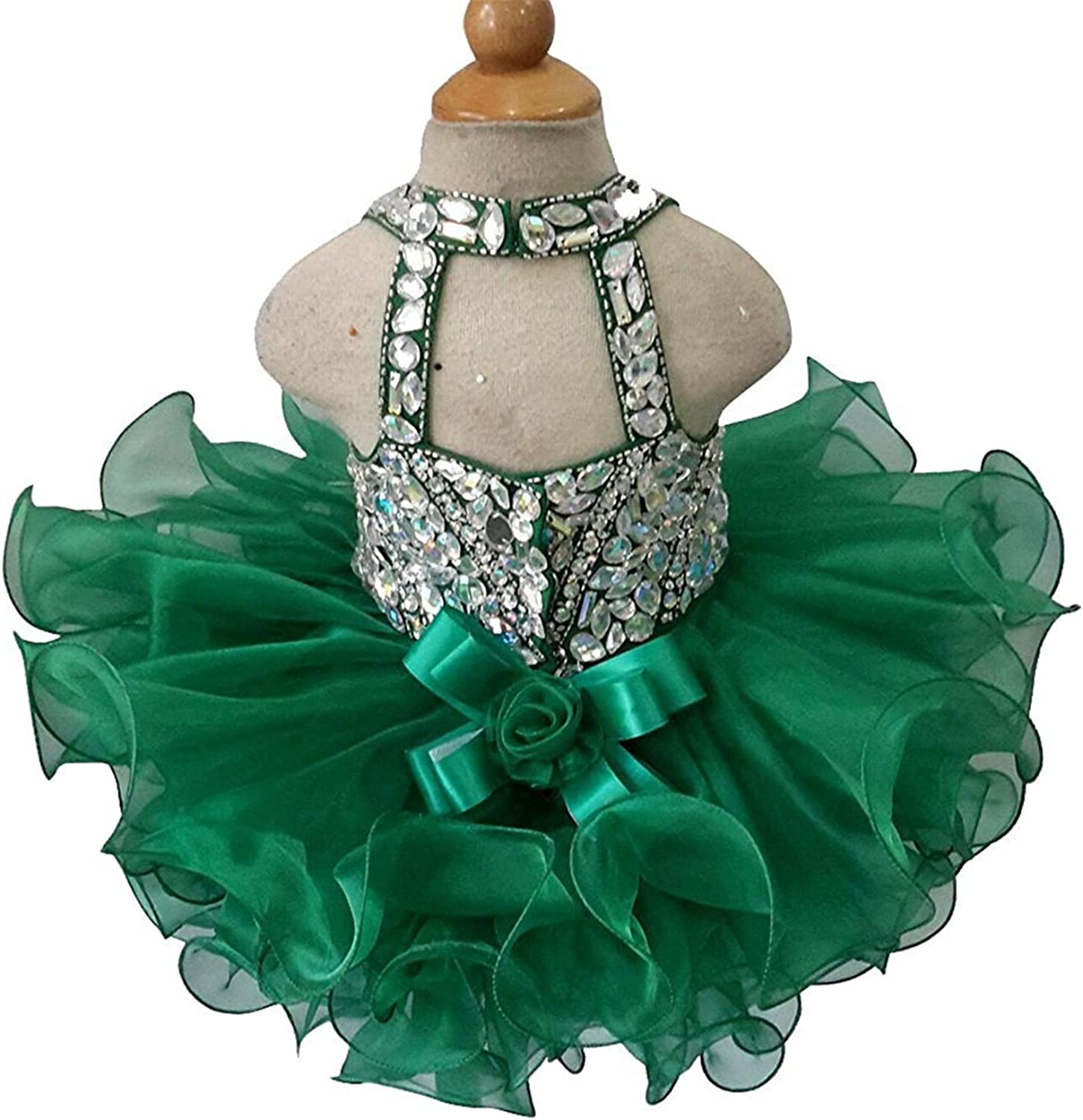 HZCQ Sweet Girls Crystal Mini Gowns Infant Pageant Cupcake Dress