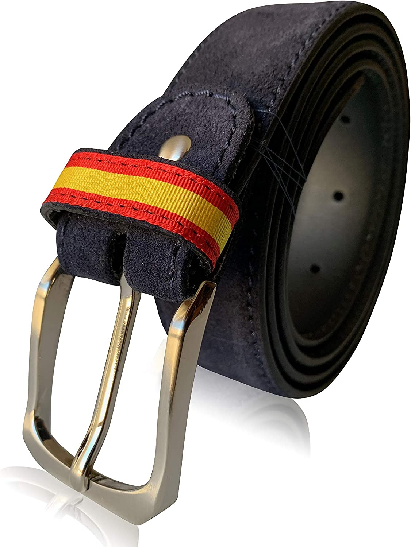 LEGADO Cinturón Hombre piel marino de cuero serraje detalle en trabilla ESPAÑA hecho en Ubrique CON PULSERA BANDERA ESPAÑA DE REGALO: Amazon.es: Ropa y accesorios