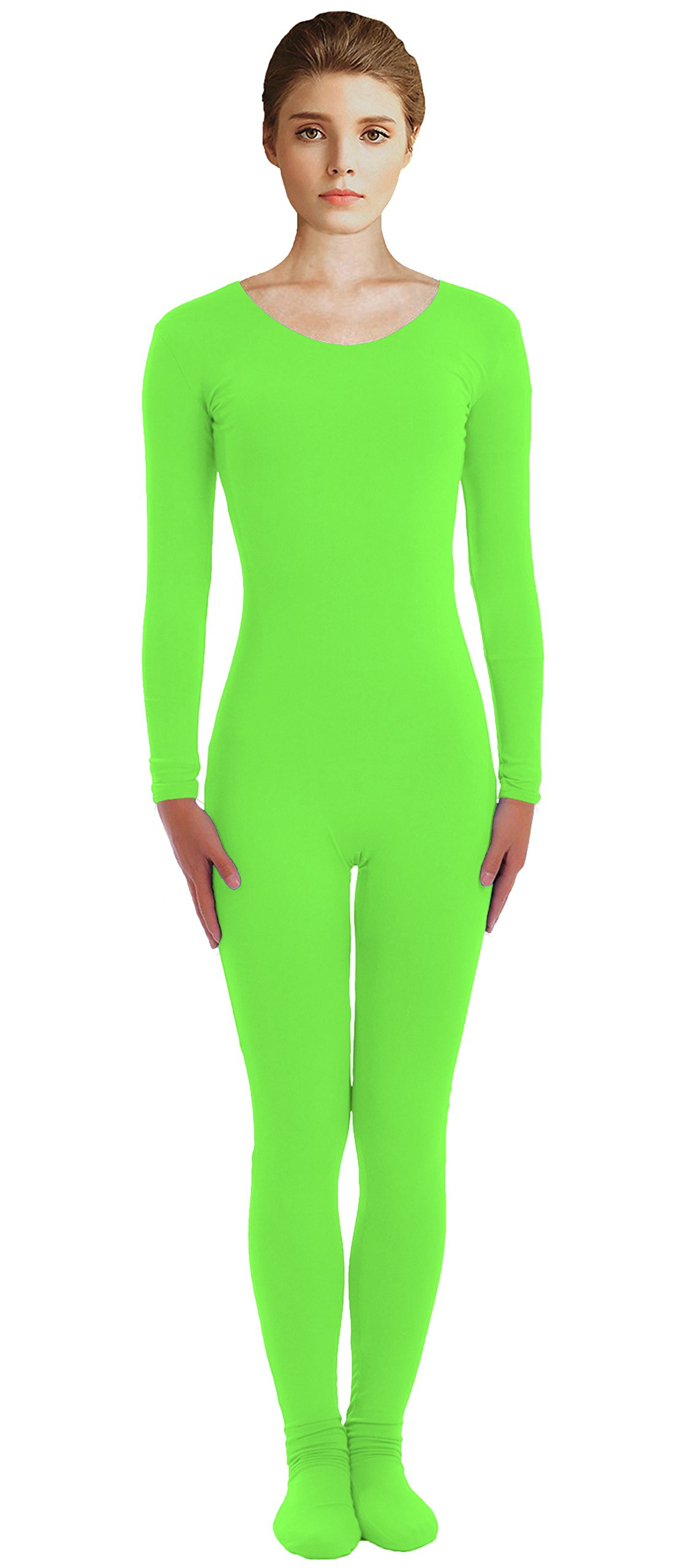 VSVO Adult Lime Green Scoop Neckline Unitard with Socks Catsuit Dancewear (Large, Lime Green) by VSVO