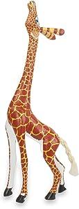 NOVICA Handcrafted Painted Copal Wood Safari Zoo Animal Figurine, My Curious Giraffe'