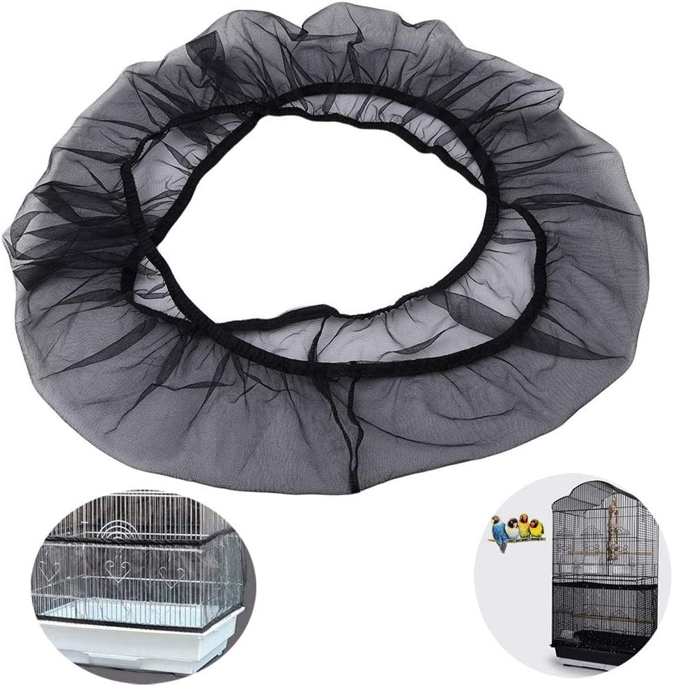 Wenxiaw Cubierta de Malla para Jaula de pájaros Funda para Jaula Pájaro Ventilación Flexible Cubierta para Jaula de Pájaros para Jaulas de Loros, Jaulas para Agapornis, Periquitos, Negro (Medium)