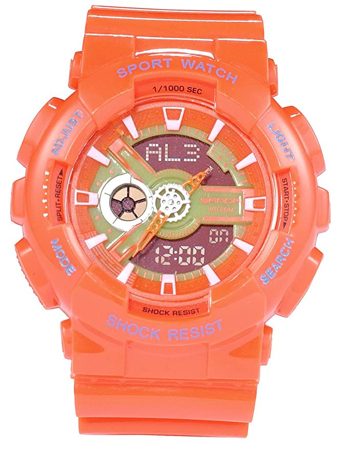 Amazon.com: Boys Girls Jelly Colourful Multi Function Water Resistant Analog Digital Sport Wrist Watches Orange: Watches