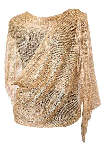 43358af9254f1 MissShorthair Womens Wedding Evening Wrap Shawl Glitter Metallic Prom Party  Scarf with Fringe(Champagne Gold
