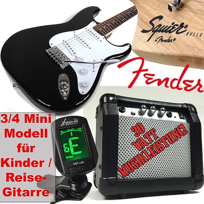 Original Fender Guitarra eléctrica para niños Squier Bullet Strat RW V2 3/4 Mini, Negro, también como guitarra de viaje perfecto. + 30 W Amplificador, ...