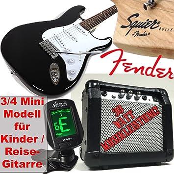Original Fender Guitarra eléctrica para niños Squier Bullet Strat RW V2 3/4 Mini, Negro, ...